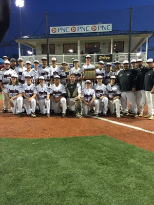 Rutgers Prep baseball team poses with its Prep B title trophy