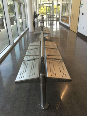 CATA will spend $23,888 to replace sloped benches with flat benches at the Gateway station, seen here May 19, 2016. The sloped seats will be moved outdoors.