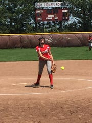 Oak Harbor's Ashley Riley throws a pitch Sunday.