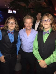 """From left, Xander Paradise, actor David Spade and Zakk Paradise at """"The Do Over"""" premiere party."""