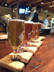 A flight of beer at Bridger Brewing. Among the news beers this spring is a refreshing cream ale made with cucumber and melon.