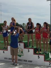 Clyde's Paula Wollenslegel won the high jump Friday.