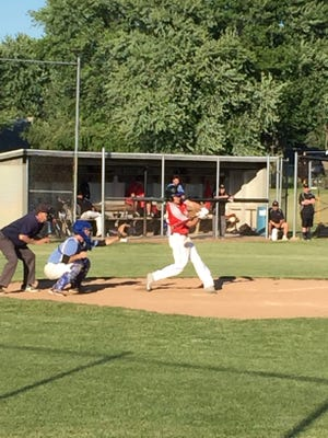 Dalton Welty doubles to drive in two runs Wednesday for Sandusky American Legion Post 83.