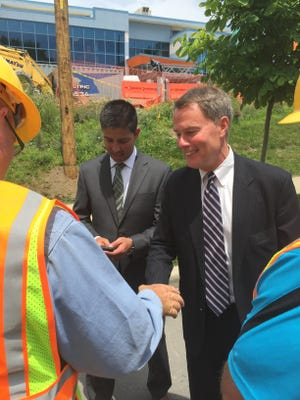 Mayor Hogsett at installation of street light