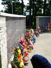 Wreaths at the Iowa Firefighters Memorial 22nd Annual