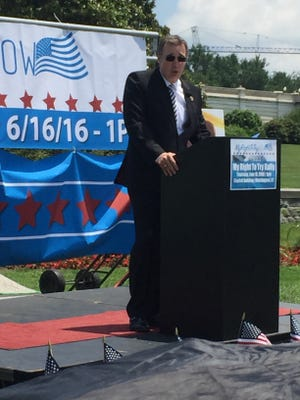 Rep. Matt Salmon speaks June 16, 2016, at a Capitol rally in support of legislation he has sponsored that would allow terminally ill patients access to drugs that have not yet received federal approval.