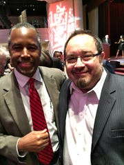 Former 2016 GOP presidential candidate Dr. Ben Carson, left, with Franklin's Robert Beeson.