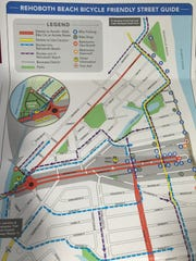 Rehoboth's new Bicycle Friendly Street Guide. The red areas are streets to avoid.