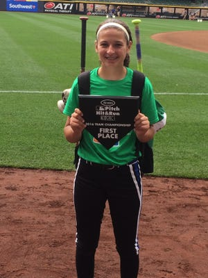 Lydia Krueger won the age 13-14 softball championship at the Pitch, Hit & Run state competition at Miller Park on Sunday.