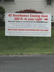 A sign found along Maury Mill Road, where Augusta County just voted to rezone agriculture land to residential.