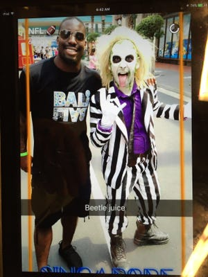 Indianapolis Colts cornerback Vontae Davis is live-posting his trip to Singapore via the NFL's Snapchat account.