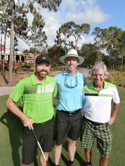 Tennis pros Mike Curran of Gulf Harbour Yacht & Country Club, left; Mike Baldwin of The Club at Mediterra, and Mike Barnes of Miromar Lakes Beach and Golf Club, who help organize and also play in golf outings with their peers each summer at Mediterra.
