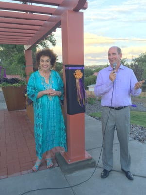 State Representative Diane Hamilton is with WNMU president Joseph Shepard during the unveiling of the pavilion name Friday.