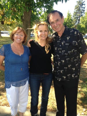 "Charlotte Lucas, actor Lea Thompson and Lucas Oil Products founder Forrest Lucas on a movie location for ""The Dog Lover."" Forrest Lucas funded the movie to express opposition to animal-rights groups."