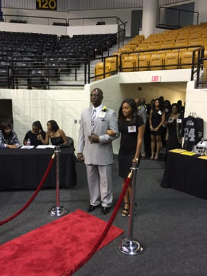 Bastrop's Gary Eave is introduced Saturday at the eighth annual Grambling Legends Hall of Fame Induction ceremony. Eave, a Grambling baseball star, was one of 11 members inducted.
