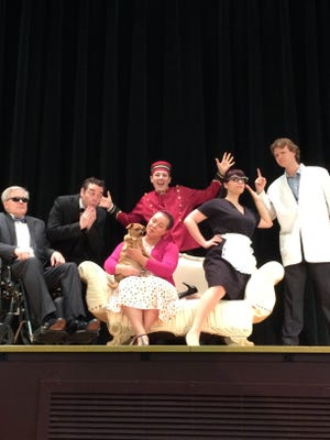 From left, Bill Bialke, Danny Trippett, Ryan Mitchell, Kara Gallagher, Katie Davis and Tom Tharp are among the cast in Encore Players summer musical production of Lucky Stiff, opening in Trumansburg, July 28.