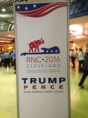 Gov. Mike Pence's name may be on the signs at the Republican National Convention, but the gathering is still all about Donald Trump.