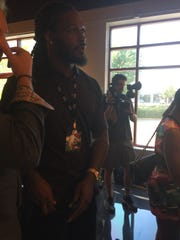 Jadeveon Clowney and Will Muschamp at the opening of