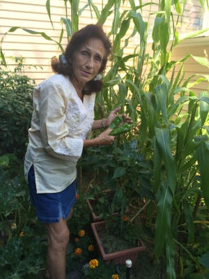 Henrietta Raymond showcases her peppers in her garden.