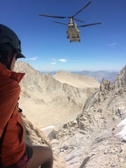 A rescue helicopter during the search of hiker John