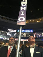 Ohio Democratic Party Chairman David Pepper, left, with Cincinnati's Jim Obergefell, at the Democratic National Convention in July.