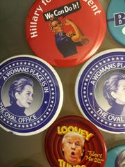 Political pins abound at this year's Democratic National Convention.