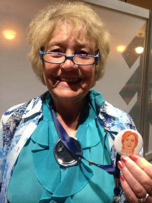 Carol Williams, a Missoula, Mont., delegate to the Democratic National Convention shown in Philadelphia July 28,2016, is a dedicated Hillary Clinton supporter.