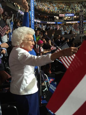 Jerry Emmett, 102, of Prescott, Ariz., cheers as Hillary Clinton becomes the first major political party nominee in U.S. history at the Democratic National Convention in Philadelphia July 28, 2016.