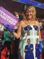 Kelly Jacobs, a Mississippi delegate, makes patriotic dresses.