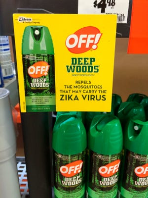 """A display for cans of Off! insect repellent with a sign which reads, """"Repels the mosquitos that may carry the Zika virus"""" at a home improvement store in Fairless Hills, Pa."""