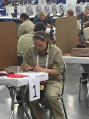 Mid-State Technical College student Maggie Hirzy competes in the Computer Numerical Controlled (CNC) Milling competition at the National Leadership & Skills Conference in June.  Hirzy finished 10th in the national competition.