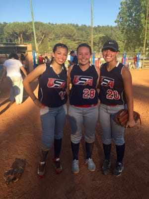 Luxemburg-Casco senior Cassie Dart (center) got to compete for a 19U team in Italy last month. Dart was one of 20 players from across the United States that made the trip. She is shown with Team USA teammates Cameron Ortiz (left) and Nicole Koczenasz (right).