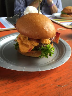 A pimento cheese and bacon burger at the WNC Battle of the Burger.