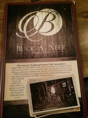 The new menu at Buck-A-Neer Supper Club, which opens
