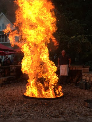 A fish boil goes at full flame at the White Gull Inn in Fish Creek.