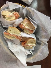 Bagels with lox and cream cheese at Gotham Bagels in