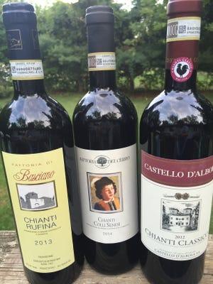 From left, Fattoria di Basciano Chianti Rufina 2013, Fattoria del Cerro Chianti Colli Senesi 2014 and Castello d'Albola Chianti Classico 2012.