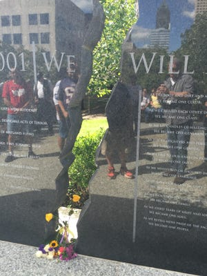 The wall at the Indianapolis 9/11 Memorial on the 15th anniversary of the terrorist attacks.