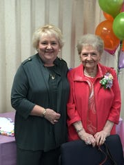 95th birthday The Evansville Duplicate Bridge Club celebrated the 95th birthday of Peggy Kincaid recently with a party of bridge friends and colleagues.  In the photo are Peggy's daughter Jane Perkins and the birthday girl.