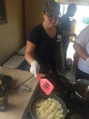 Katy Mathieu had potato duty at Saturday's pancake