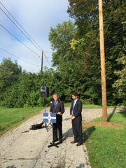 Mayor Joe Hogsett and Indianapolis Power & Light Co. President Rafael Sanchez announce the second of 100 new streetlights on the city's west side in August.