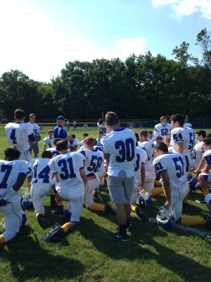 Shore head coach Mark Costantino addresses his team after defeating Keansburg on Saturday 9/24
