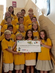St. Margaret Mary Elementary School has been chosen to receive a $1,000 Fuel up to Play 60 funding award this school year to help them increase awareness of and access to nutrient-rich foods and physical activity opportunities for students. Pictured are (first row, from left) Wesley Auth, Harrison Bergstrom, Leila Stuart, Madeleine Middlestadt; (second row) Nate Pable, Maria Marti, Meredith Wener; (third row) Alex Campbell, Jakob Duquaine, Alex Rice; (fourth row) Alissa Bolton, Norah Lee, Annalise Zenzick; (fifth row) Sienna Anderson, Ben Donaldson and Andrew Werner.