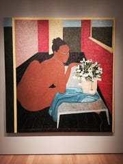 """One of the three Mequitta Ahuja's paintings in her series """"Performing Painting"""" on view at the Grand Rapids Art Museum as part of ArtPrize."""