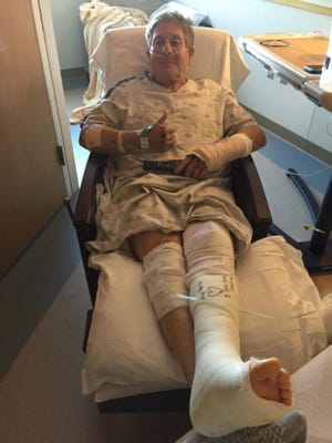 John Glasgow recovers at Benefis Health System after a motorcycle crash.