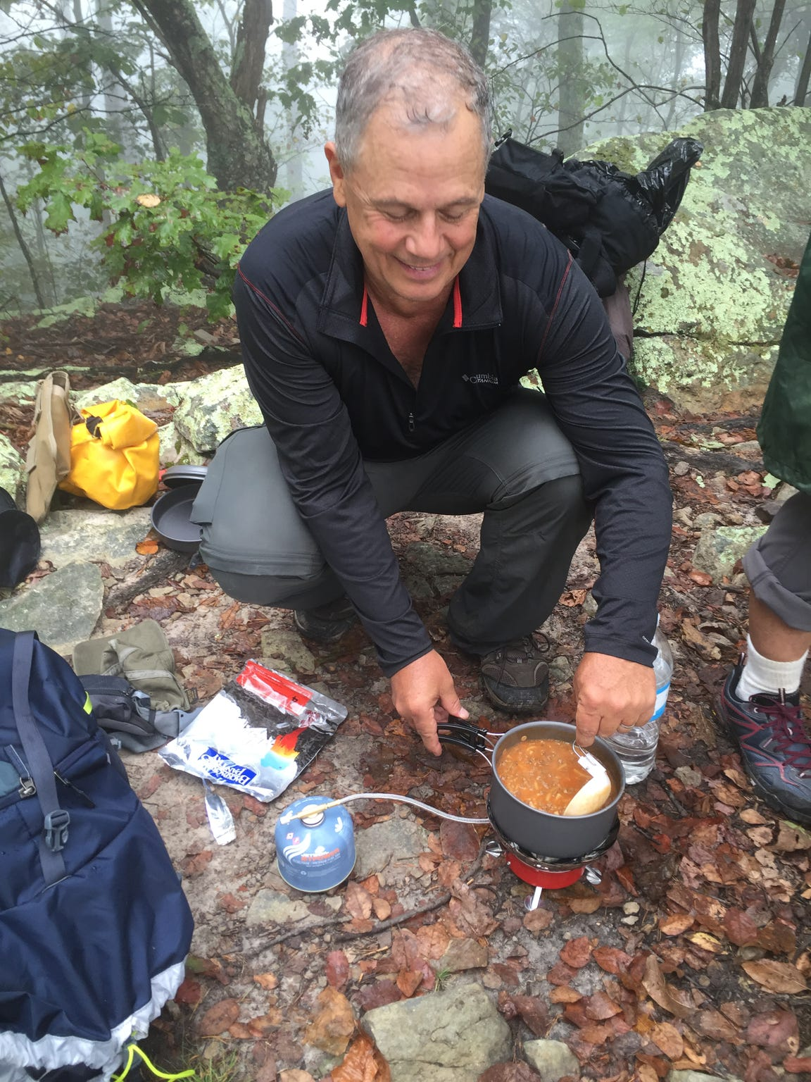 A hot lunch cooked with a micro stove on the trail