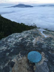 A U.S. Geological Survey marker has been permanently affixed to the edge of Tinker Cliffs on the Appalachian Trail.
