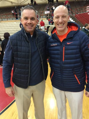 Butler's Chris Holtmann, left, and Illinois' John Groce were once Taylor teammates. Butler Insider David Woods would like the Butler/Illini series to be revived.