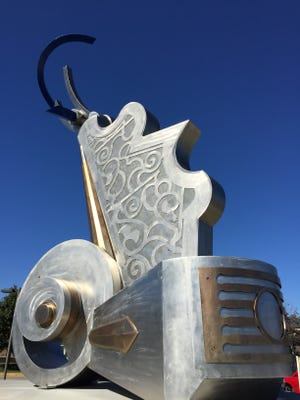 "A picture of ""Strata,"" Urbandale's largest public art piece."