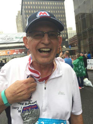 Garry Watson of Rochester Hills completed his 39th straight Detroit marathon Sunday. He's one of four men who have run every Detroit marathon.